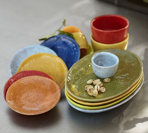 Made in Portugal Colorful Tapas Oval Plates Set of 4 in cherry orange bittersweet and lemon. & Colorful Tapas Dinnerware | Pottery Barn | Love to Live Here For a ...