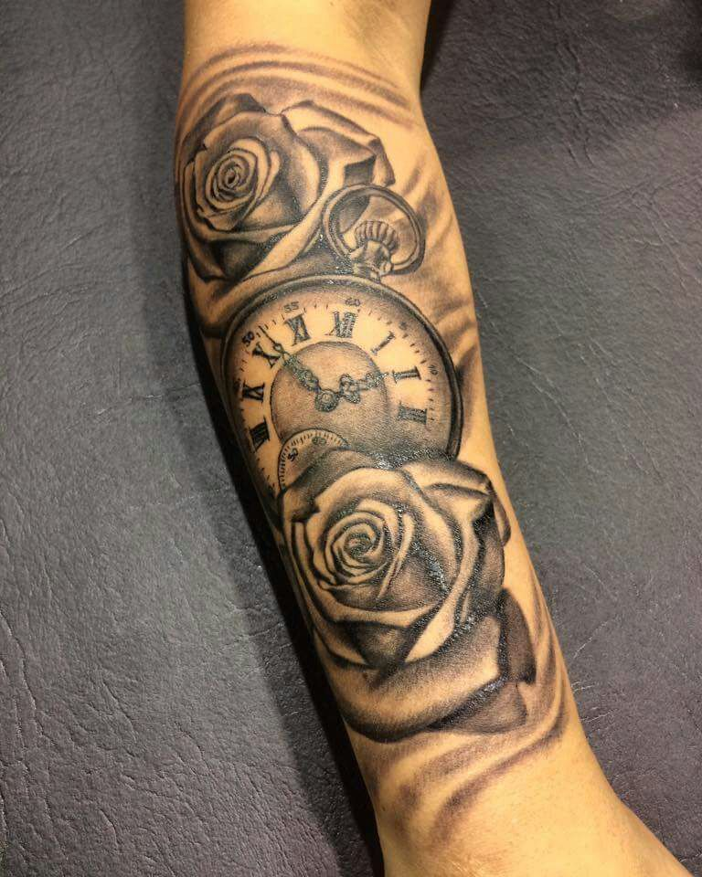 Clock And Roses Forearm Tattoo Men Forearm Tattoos Tattoos For Guys