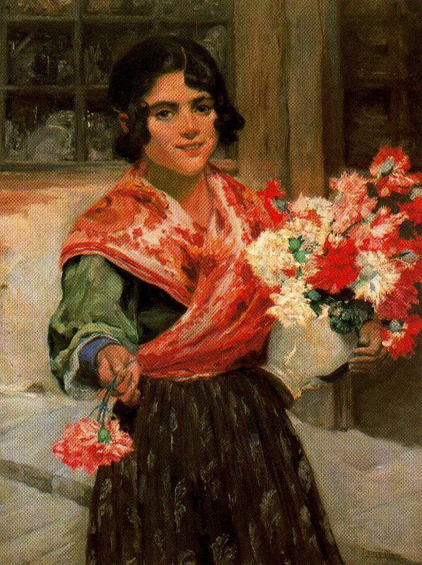 Muchacha con Flores Ignacio Díaz Olano (Spanish, 1859