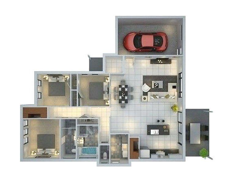 Denah rumah minimalis 3 kamar tidur 3d desain rumah for 3 bedroom garage apartment