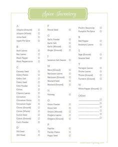 photograph regarding Spice List Printable titled Spice Stock Printable Templates Pantry stock