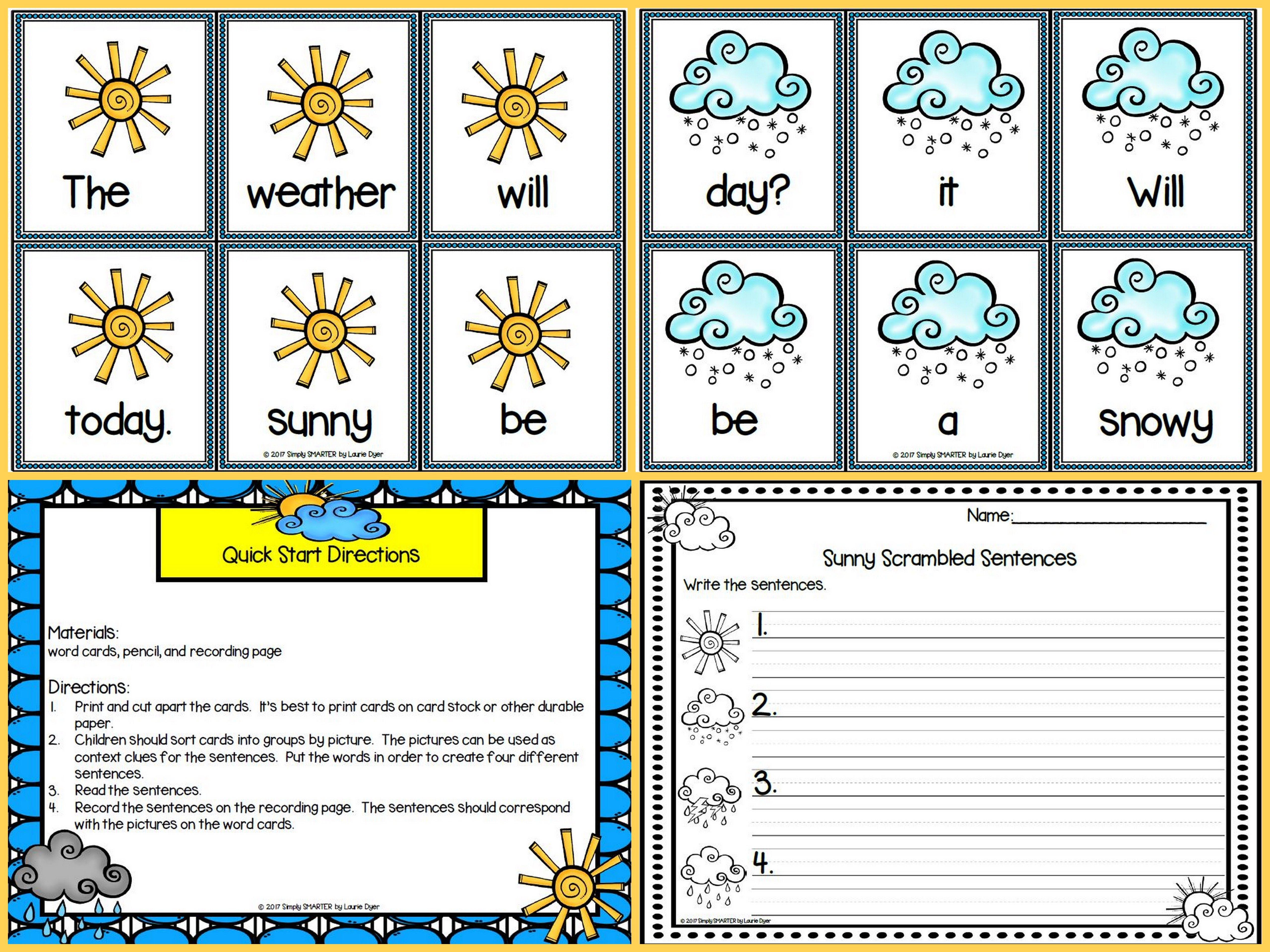 Low Prep Weather Themed Sentence Building Activity
