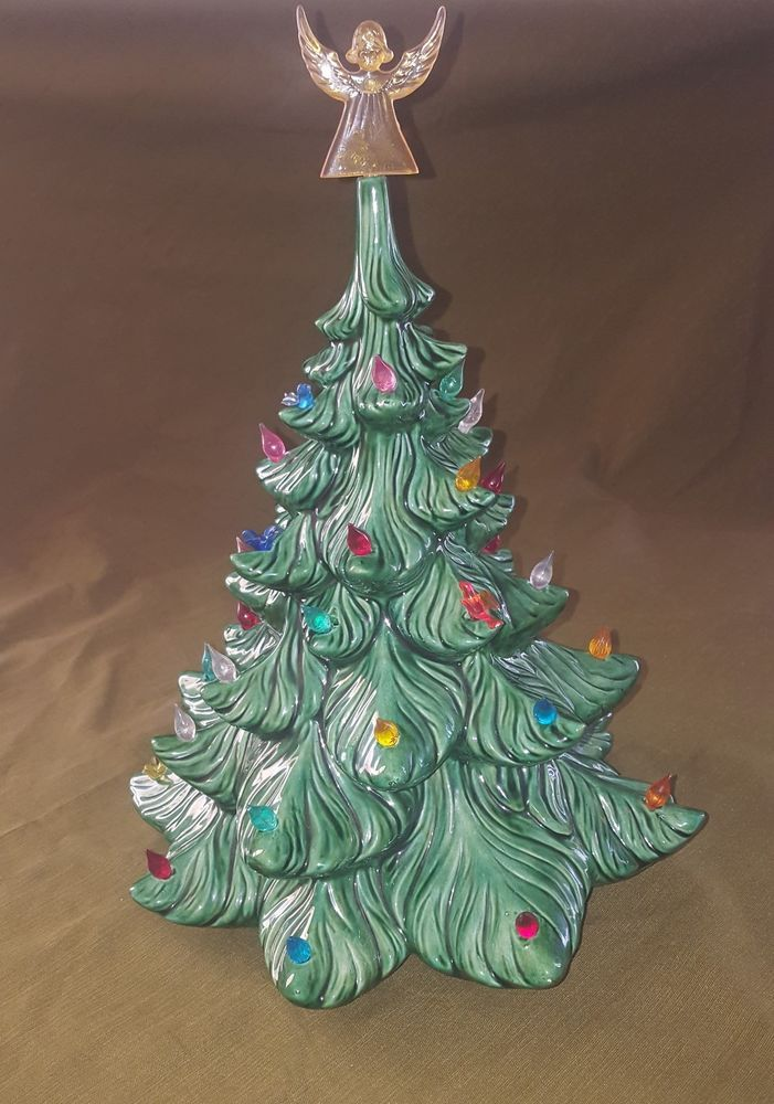 ceramic christmas tree 1978 165 inches tall with angel plastic lights doves