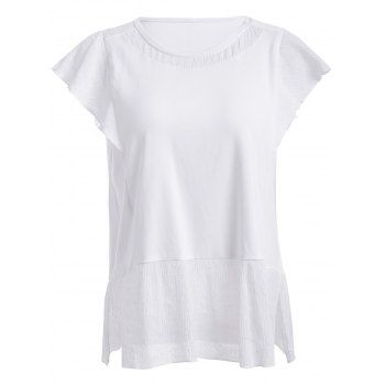 SHARE & Get it FREE   Trendy Round Neck Solid Color Spliced Furcal Women's T-ShirtFor Fashion Lovers only:80,000+ Items·FREE SHIPPING Join Dresslily: Get YOUR $50 NOW!