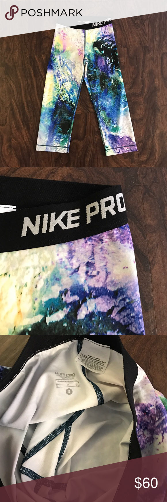 Nike Pro Cropped Leggings Nike Pro cropped leggings - size small. Galaxy print. Excellent condition! Nike Pants Leggings