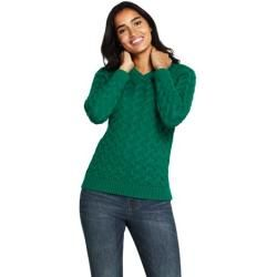 Photo of Cable Knit Sweater Drifter V-Neck – Green – 44-46 from Lands 'End Lands' End