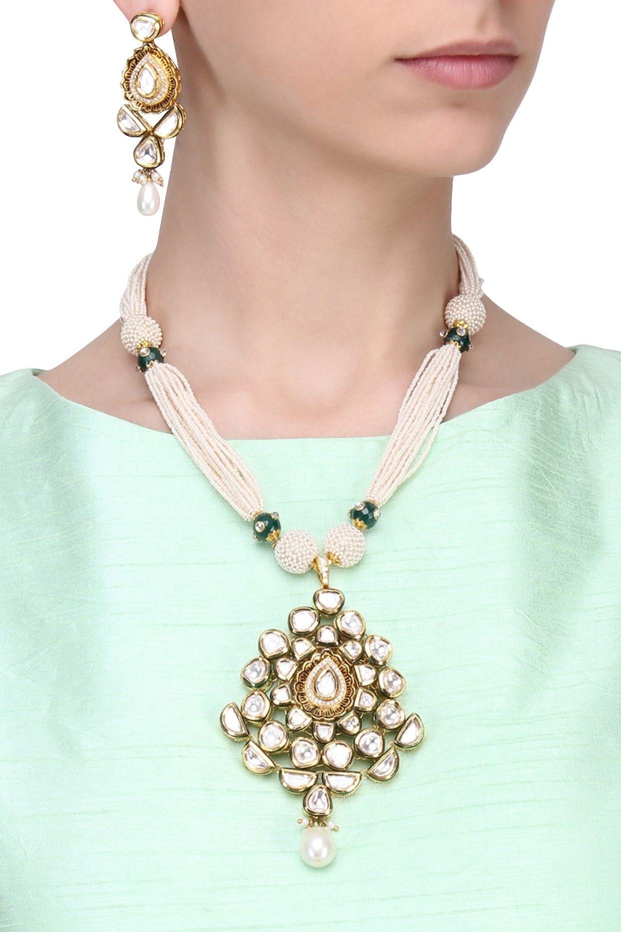 Zevar by geeta gold finish kundan pendant multiple pearl string