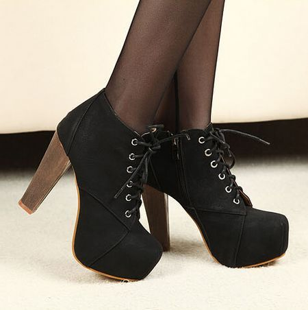black lace up suede high heel boots accessories