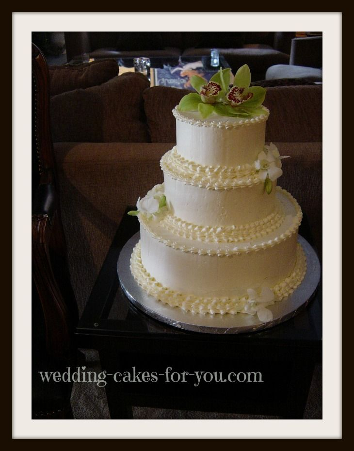 A Small Ercream Wedding Cake With Green Orchids This Is Carrot Find The Best Moist Recipe At Cakes For You