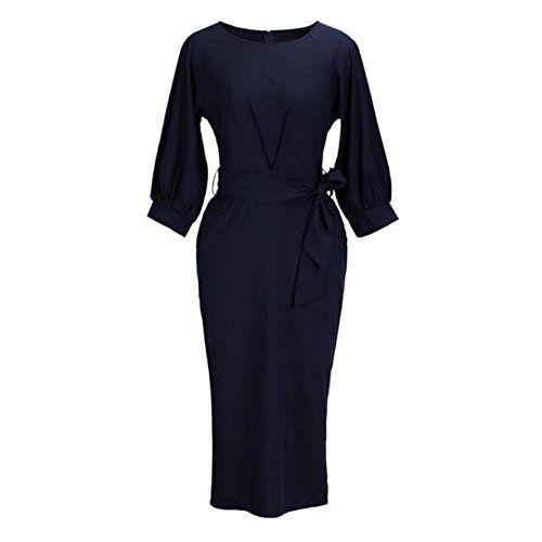 e96ce91eb67 Femmes Moulantes Robes Vintage 3 4 à manches longues serré Wrap Mariage Soirée  Robe Midi