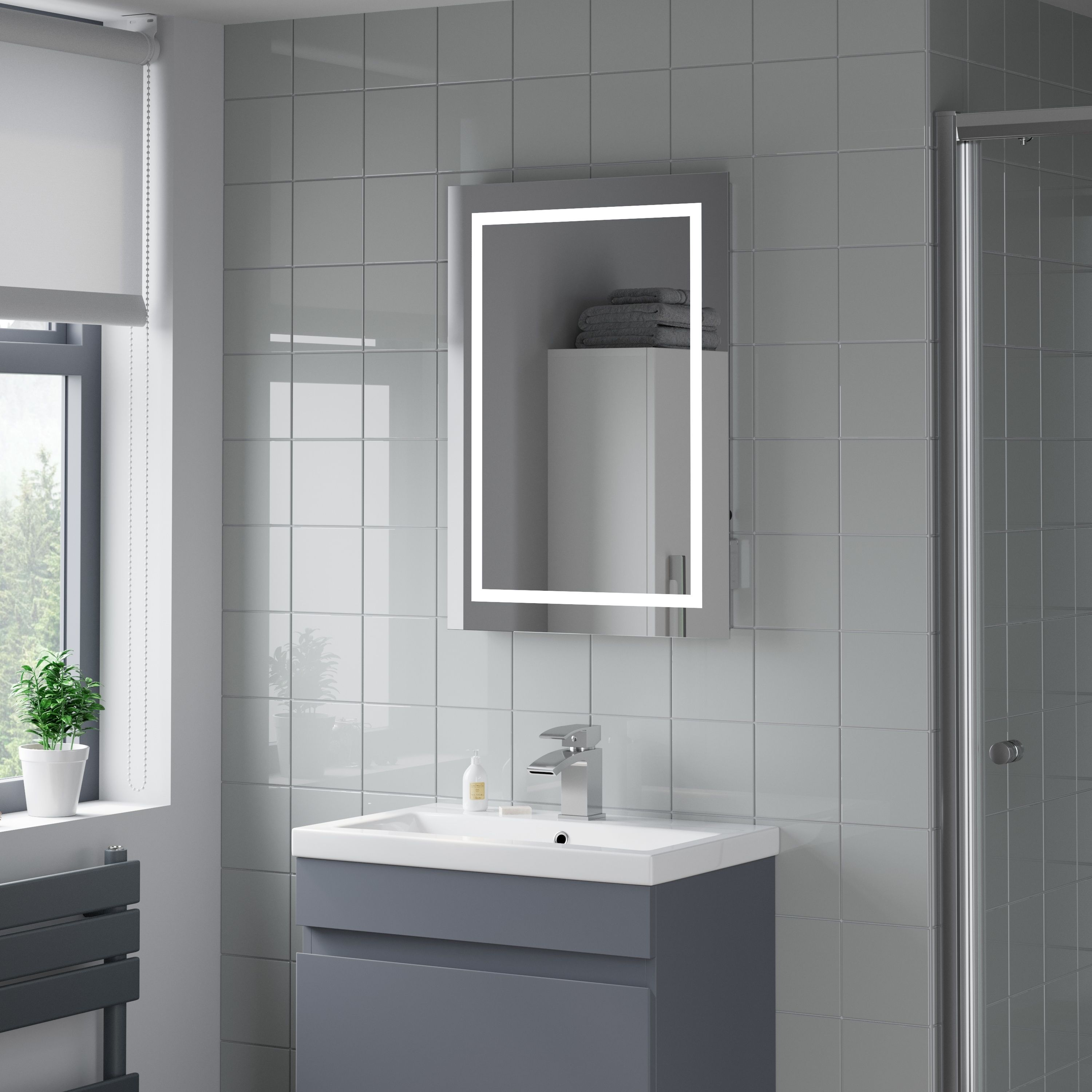Artis Niteo Led Illuminated Mirror With Shaver Socket And Demister 500 X 700mm Mains Power Illuminated Mirrors Led Mirror Bathroom Led Mirror