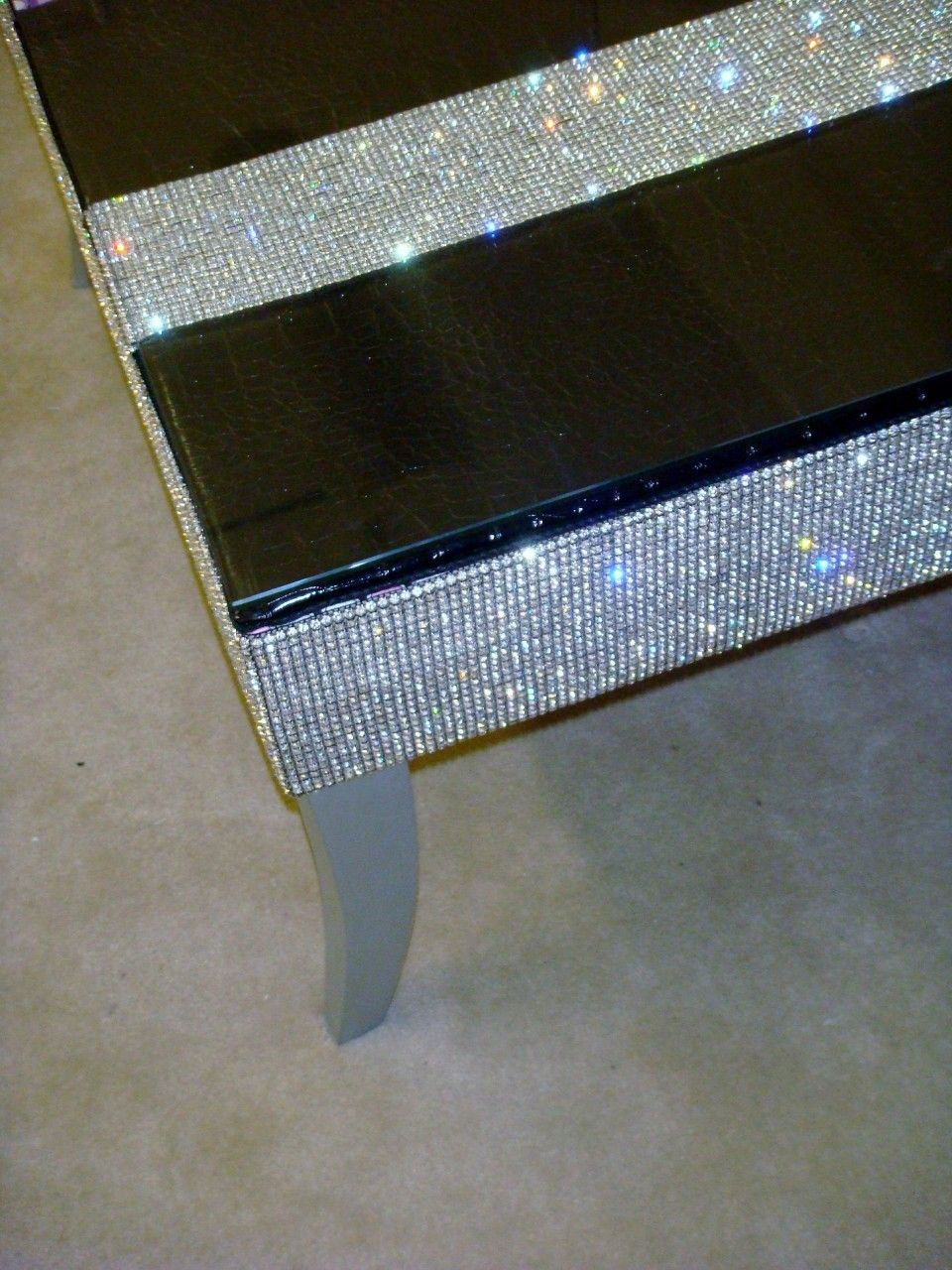 Belgravia Coffee Table Crock Faux Leather Bling Coffee Table