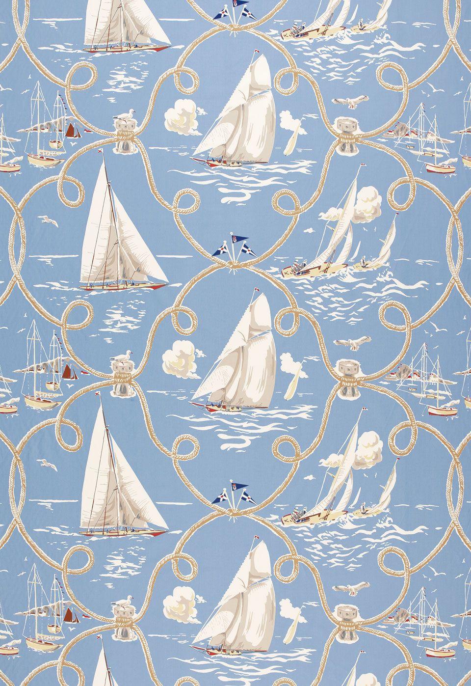 Fabric | Summer Regatta in Water | Schumacher