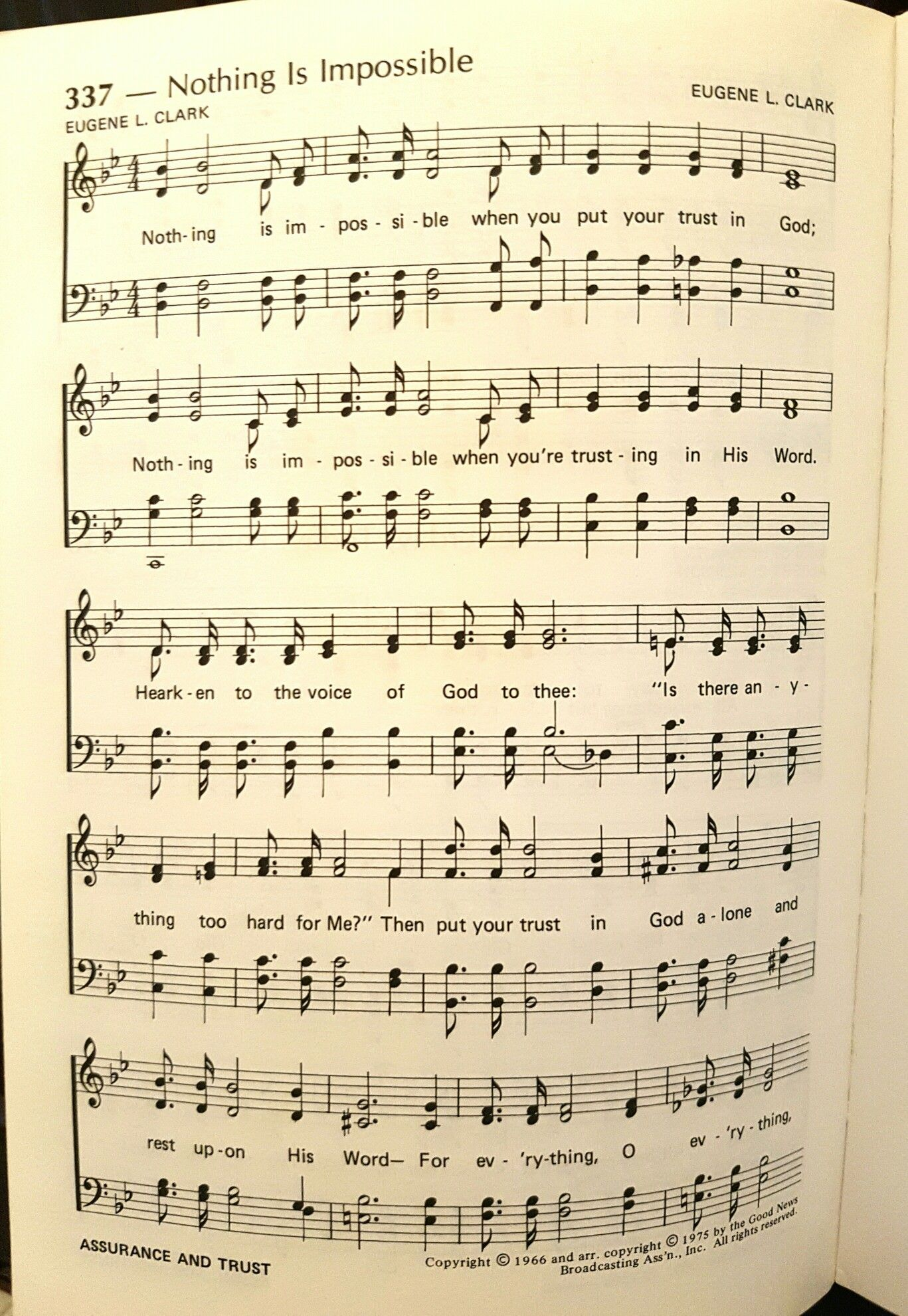 Nothing Is Impossible Hymn Sheet Music Hymn Music