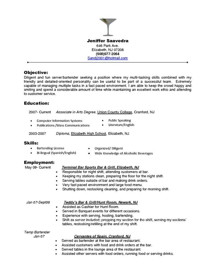 Food Server Resume Skills  Examples Of Server Resumes