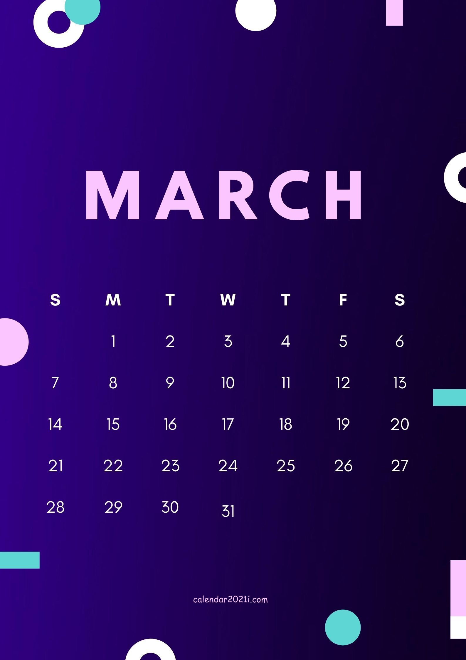Cute March 2021 calendar design theme layout free download