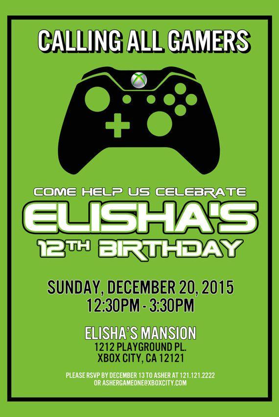 5 x 7 inch Birthday Invitation - Personalized XBox Themed Party ...
