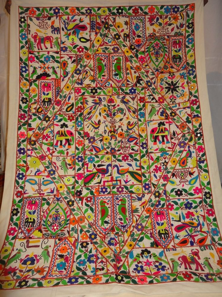 Vintage Tapestry Antique Indian Handmade Embroidered Patchwork Wall Hanging Vintage Tapestry Wall Hanging Tapestry