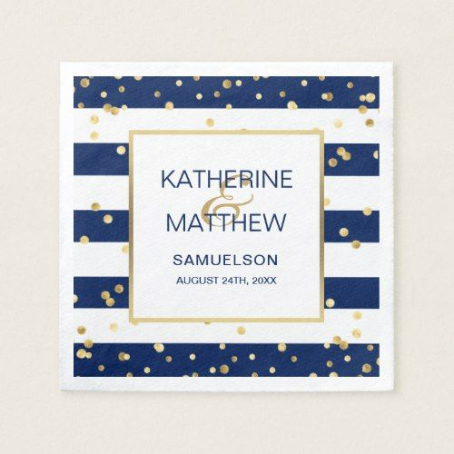 Custom Nautical Navy Blue Gold Wedding Paper Paper Napkin | Zazzle.com #papernapkins