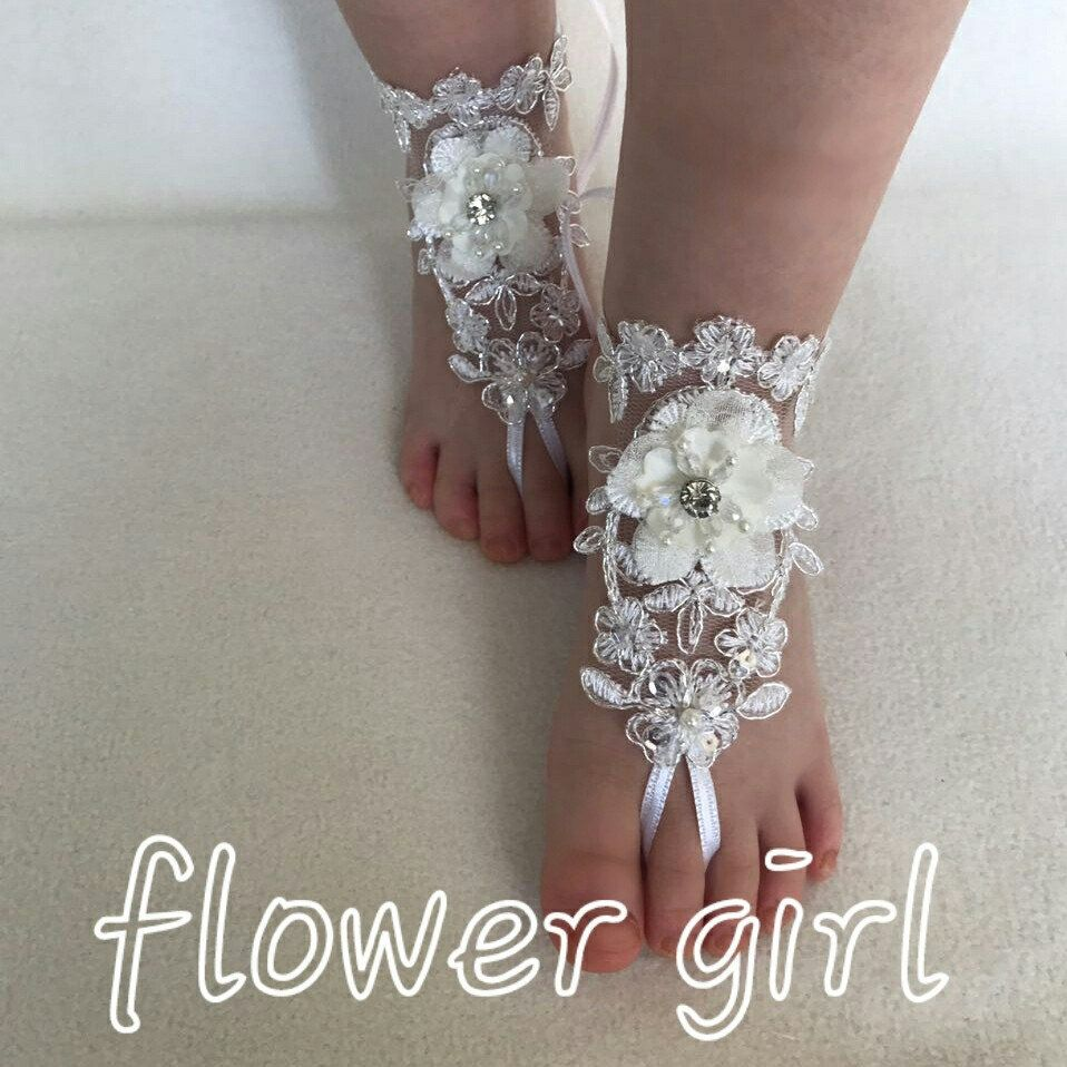 Flower Girl 3D Ivory Silver Frame Lace Barefoot Sandals Beach Wedding Foot Accessory Baby Jewelry Modern