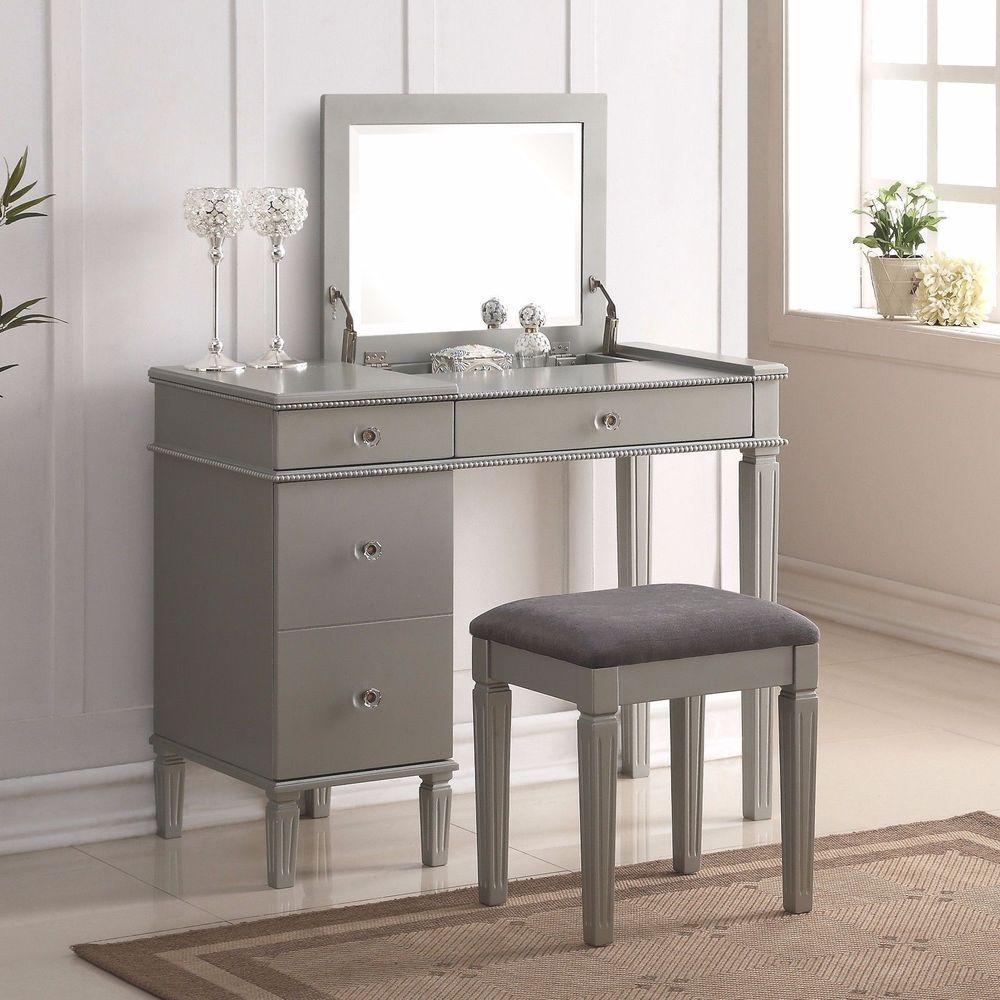 Modern Vanity Set Stool Bed Room Desk Contemporary Make Up Flip