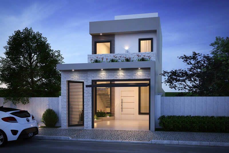 Planta de sobrado com 5 metros de frente espacios de for Fachadas de casas modernas de 2 quartos