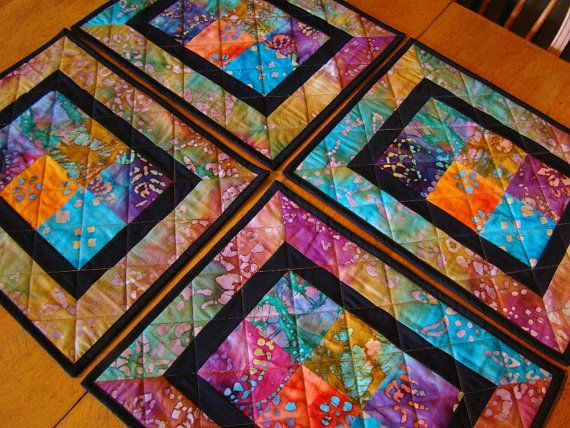 Modern Batik Patchwork Quilted Placemats - set of 4 Patchwork and Modern