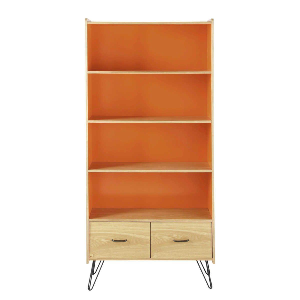 Bibliotheque Vintage 2 Tiroirs Orange Maisons Du Monde Meuble Rangement Mobilier De Salon Meuble Deco