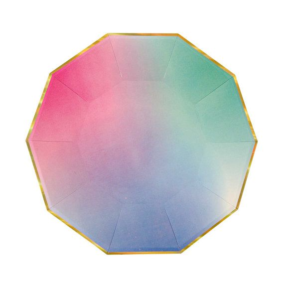 Ombre Paper Plate with gold foil edges. Watercolor party paper plate. Gold foil plates. Pink paper plates. Blue and green paper plate  sc 1 st  Pinterest & Ombre Paper Plate with gold foil edges. Watercolor party paper plate ...