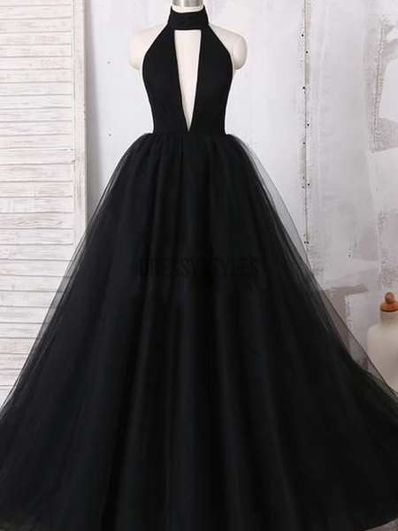 Pretty Black Halter Tulle Ball Gown Open Back A Line Long Prom Dresses Md418 In 2020 Halter Prom Dresses Ball Gowns Ball Gowns Prom