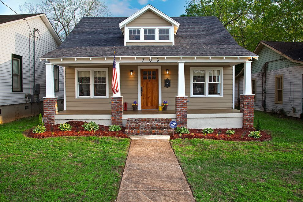 Craftsman Bungalow For A Craftsman Exterior With A Red Brick Pillar And Historic Craftsman Bungalow Exterior Brick Exterior House Bungalow Exterior