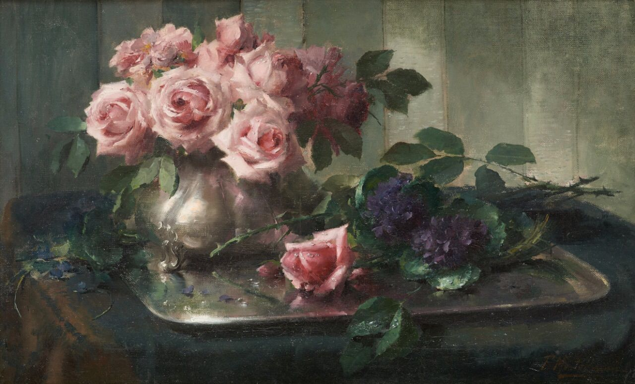 Frans Mortelmans | Flores pintadas, Pinturas de flores, Pinturas de rosa