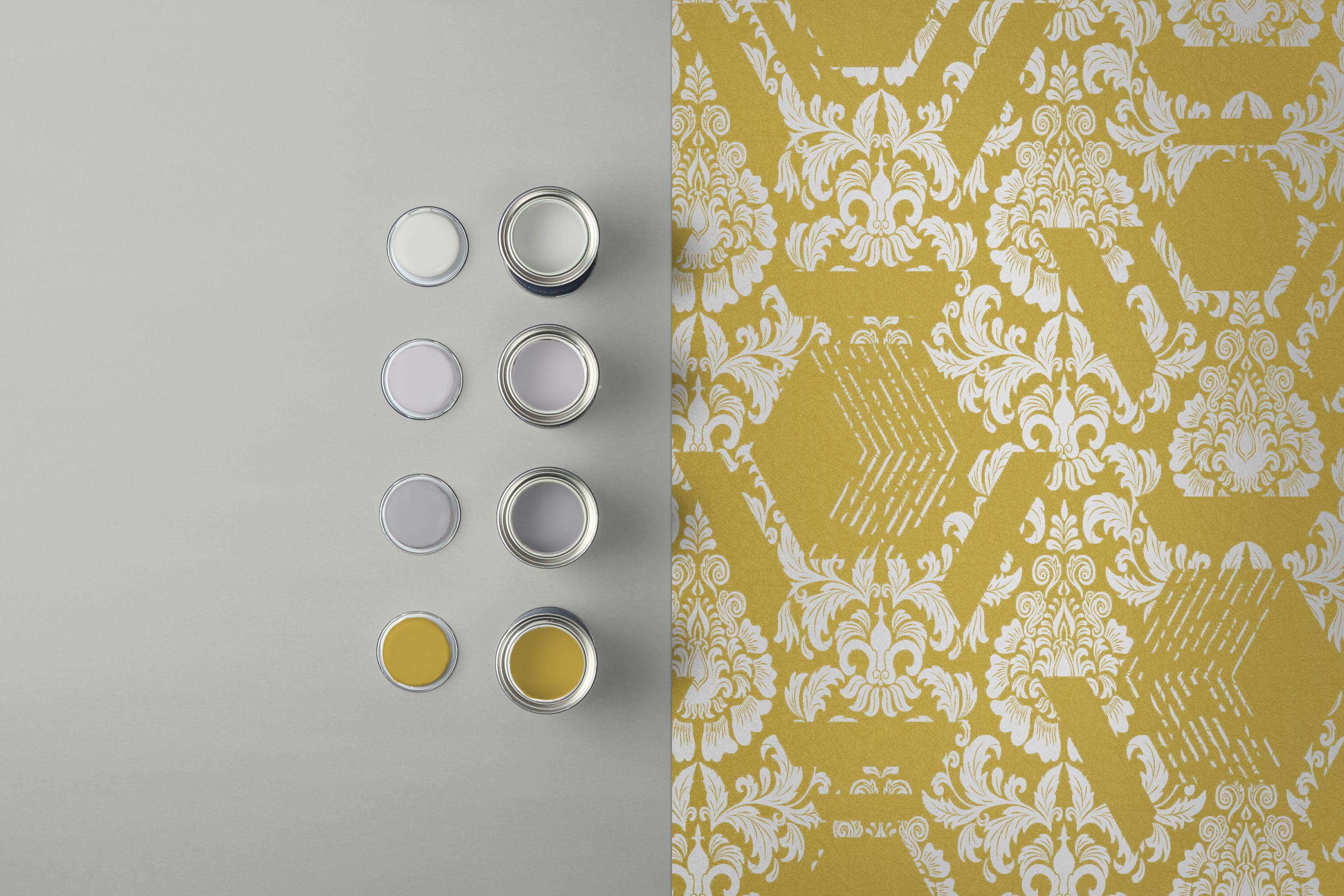Geo Damask Yellow Wallpaper Damask Yellow Wallpaper Stun