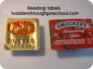 Reading Labels Toddlers through preschool