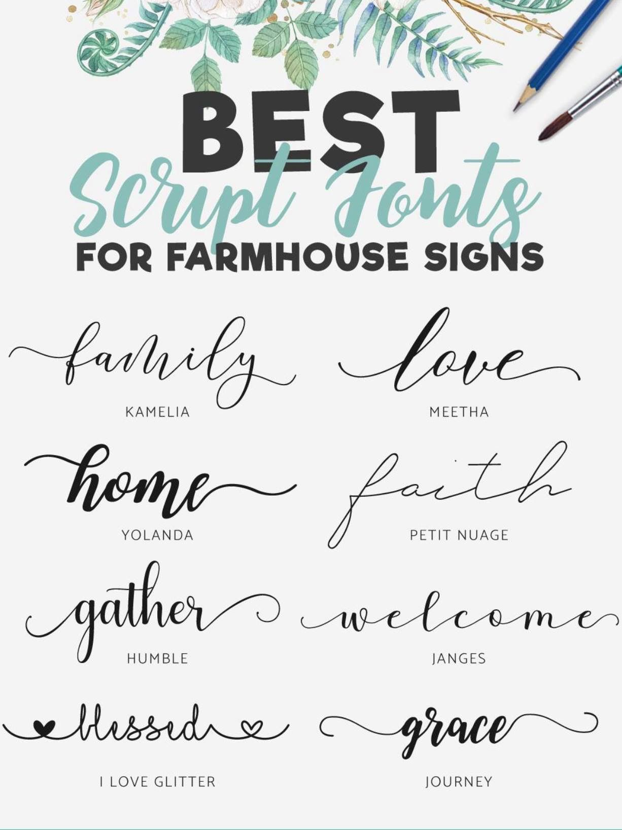 fonts for farmhouse signs | Design Space | Sign fonts ...