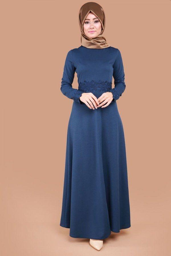 c711795ad7794 Bel ve Manşeti Güpürlü Elbise İndigo Ürün kodu: PUA6060 --> 64.90 TL ...