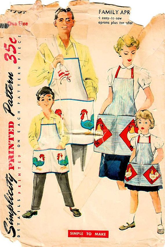 1950s Simplicity 4939 Vintage Sewing Pattern Misses Apron, Girls ...