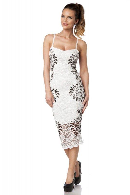 Knielange #Spitzenkleid in weiß/schwarz - Kleidung Onlineshop ...