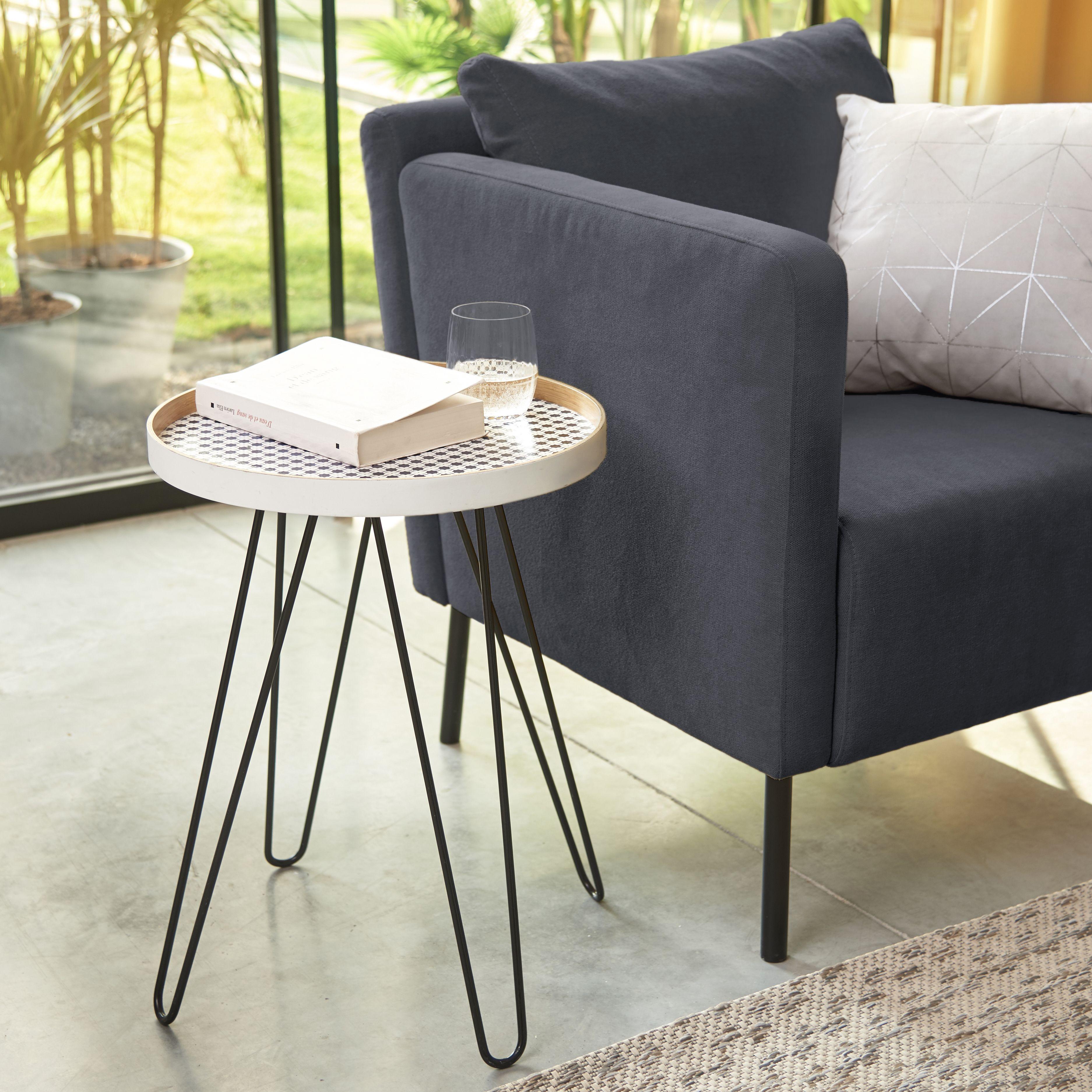 dama bout de canap avec pieds en m tal pingles alin a pi ce de vie s salon. Black Bedroom Furniture Sets. Home Design Ideas
