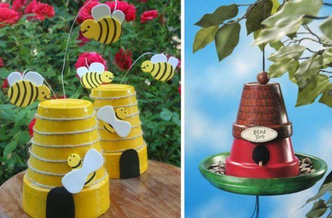 Gartendeko Aus Tontopfen Figuren Basteln Bienenhaus Vogelhaus Tontopf Figuren Selbstgemachte Tongefasse Garten Deko