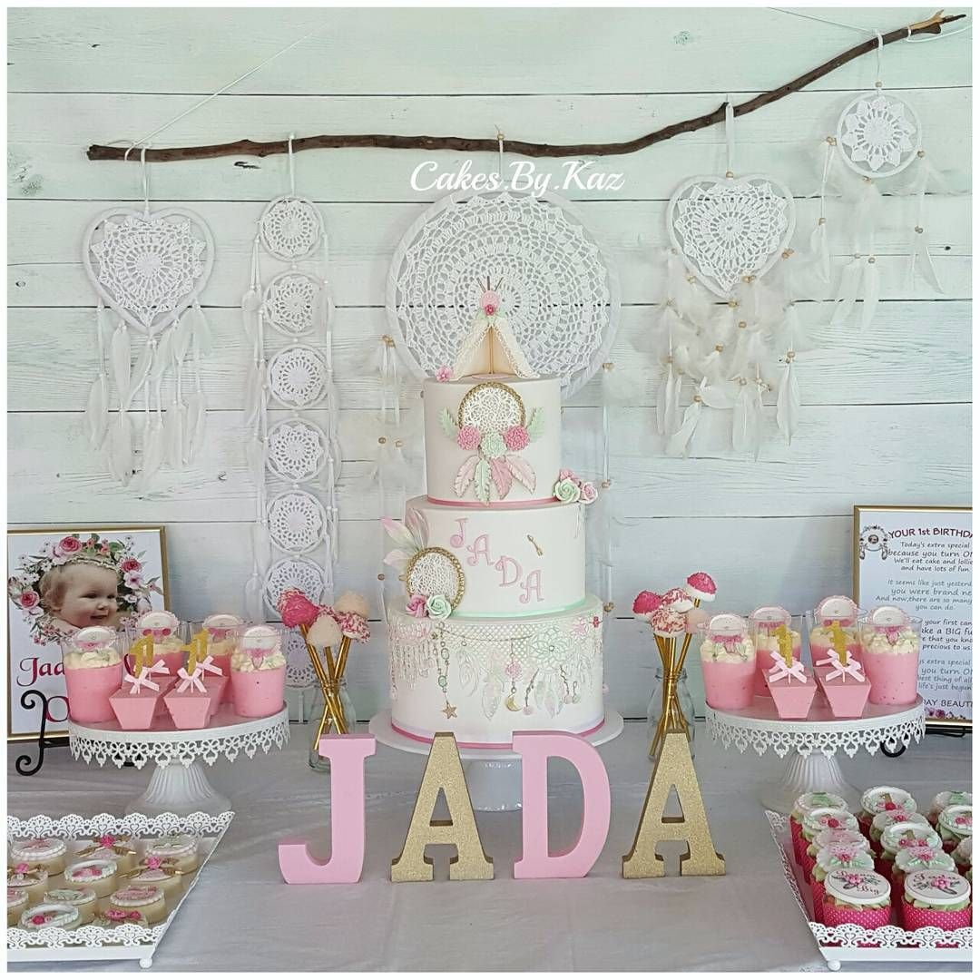 1st Birthday Dessert Table With Dreamcatcher Cake Boho Style With Fondant Edible Teepee On Cake Table Birthday Pocahontas Birthday Party Dessert Table Birthday
