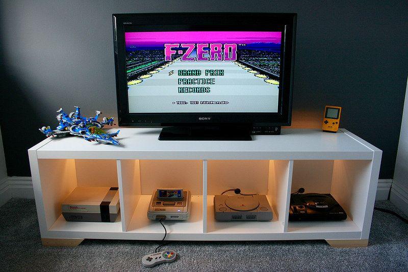 Consolle In Vetro Ikea.Kallax Retro Console Display Ikea Hackers Kallax Retro Games Console Game Room Design