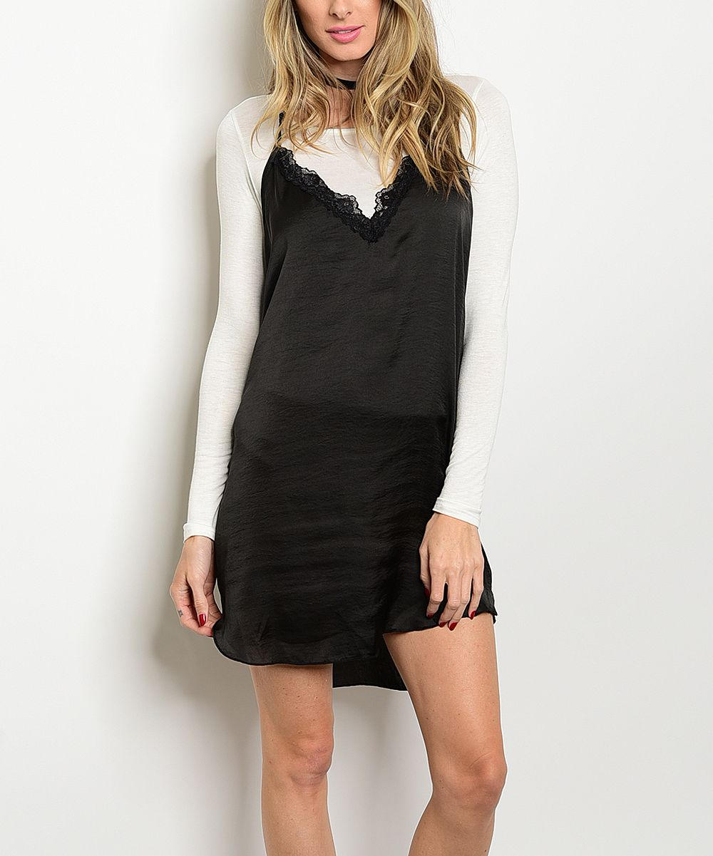 Black lacy vneck dress u white longsleeve tee products