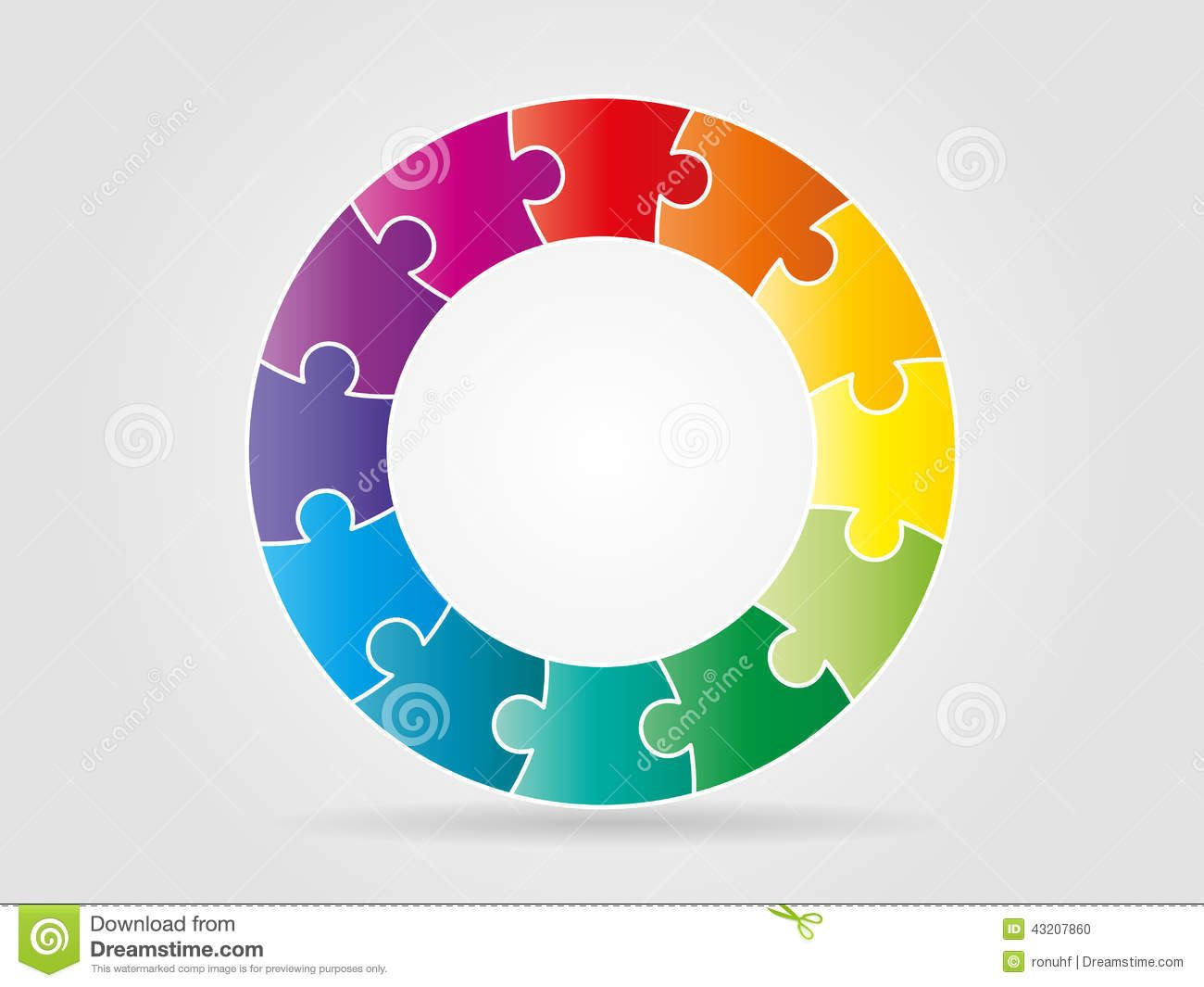 ColorfulRainbowPuzzlePiecesFormingCircleVectorGraphic