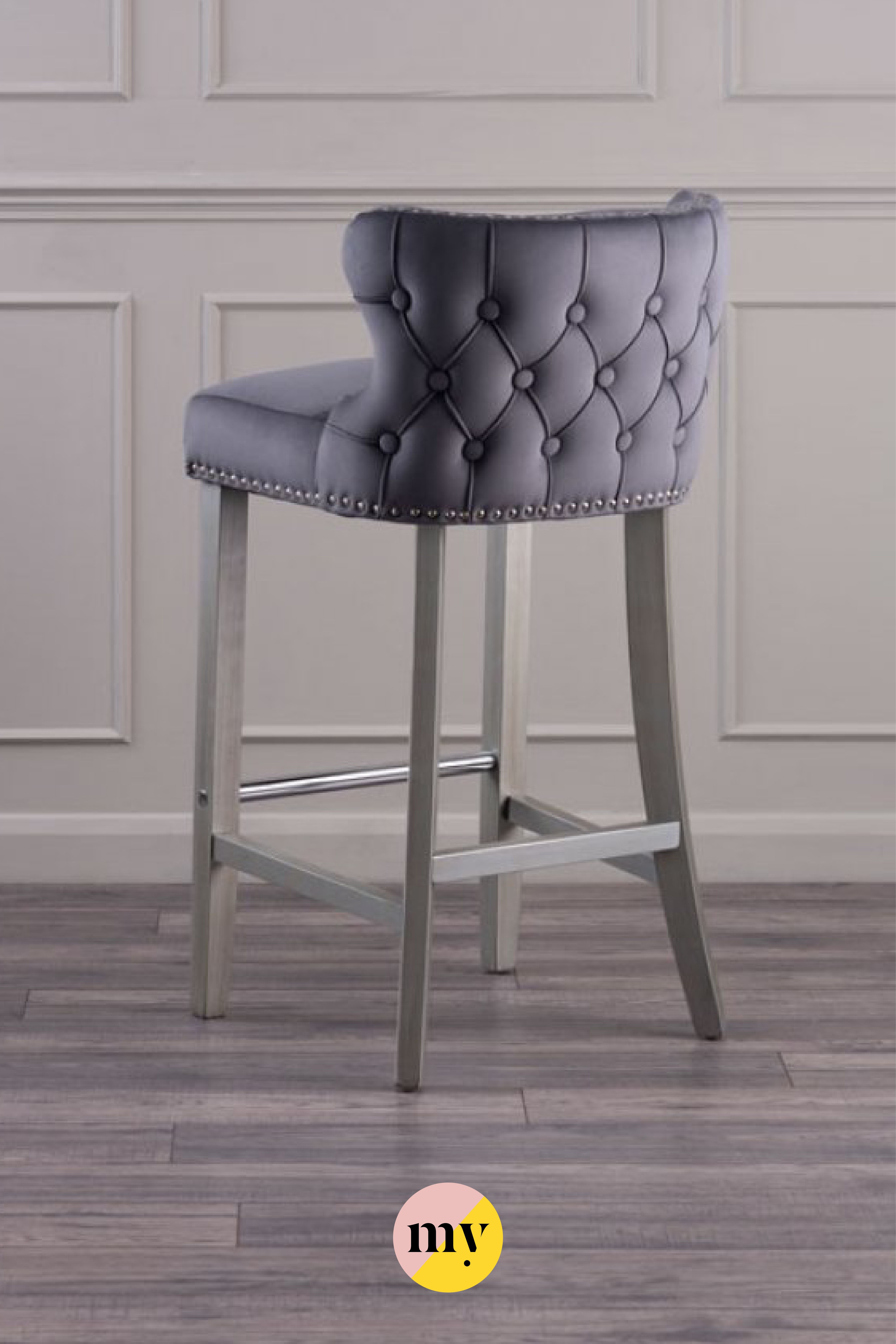 Margonia Bar Stool Storm Grey With Pewter Legs Elegant Bar Stools Bar Stools Bar Chairs Kitchen