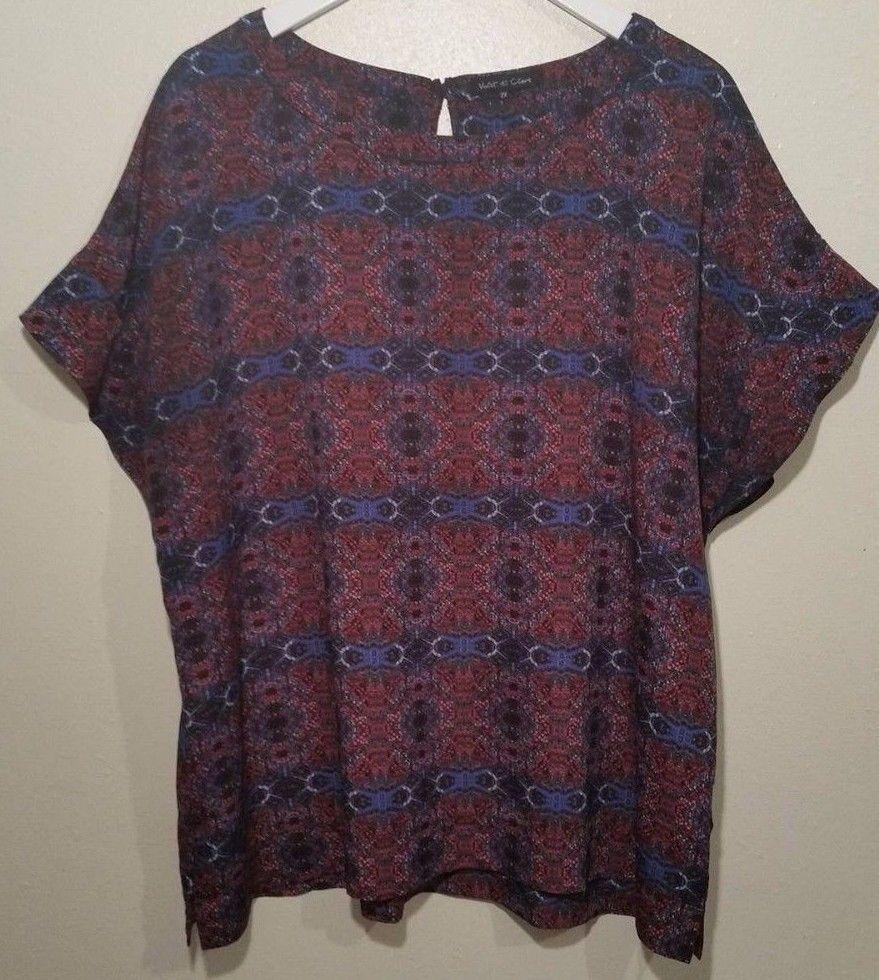 16045070ca3984 Violet & Claire 2X Short Sleeve Blue Red Shirt Womens plus #VioletClaire # Blouse