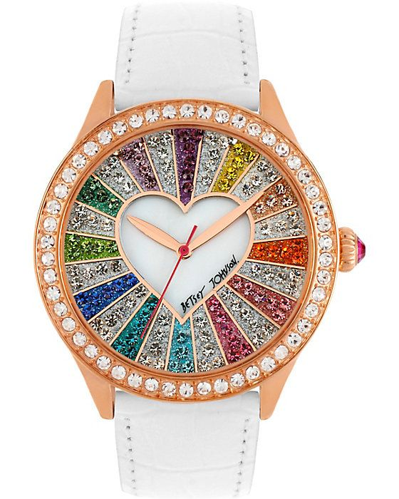 BETSEY JOHNSON RAINBOW CRYSTAL FACE WATCH MULTI accessories jewelry watches fashion♥≻★≺♥