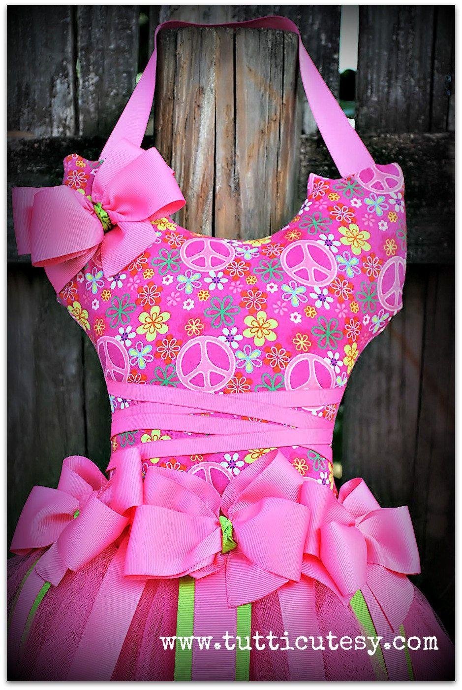 Hot Pink Peace Tutu hair bow holder. Hair bow holder