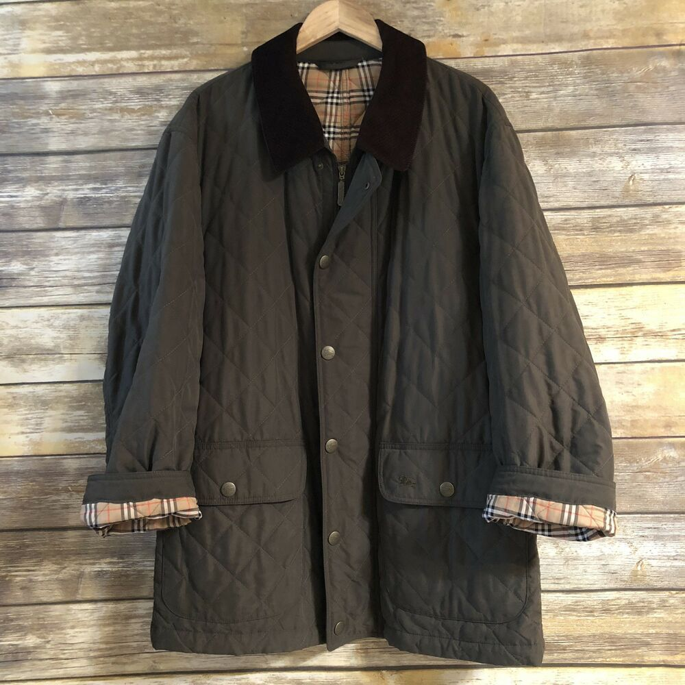 Burberrys Vintage Diamond Quilted Coat Jacket Corduroy Collar Trim Green Xl Fashion Clothing Shoes Accessories Womensclothing Jackets Burberry Coat Coat