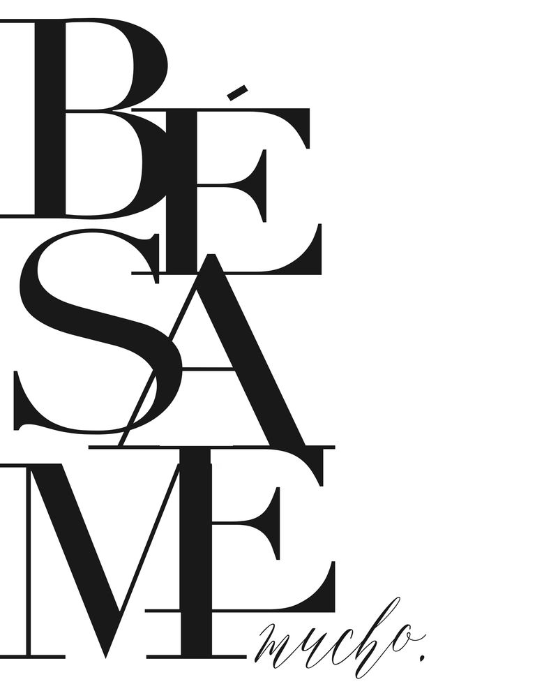 BESAME PRINT, Kiss Me Quote,Spanish Poster,Spanish Decor